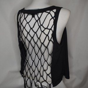 NWT Open Back Fringe Cutout Distressed Punk Top